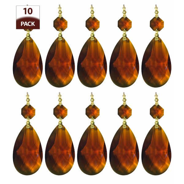 Lot 5 Amber Pear Shaped Hand Made Prism Tear Drop Chandelier 1 34 Inch SHP