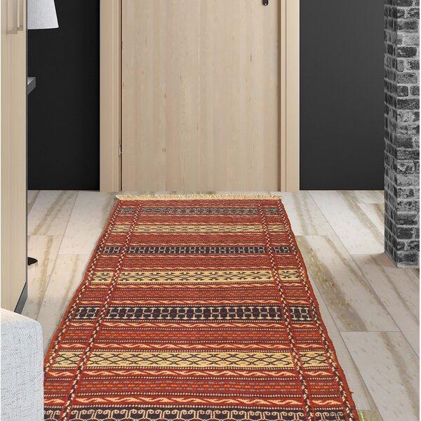 Zellner Handmade Kilim Wool Red/Navy/Beige Rug