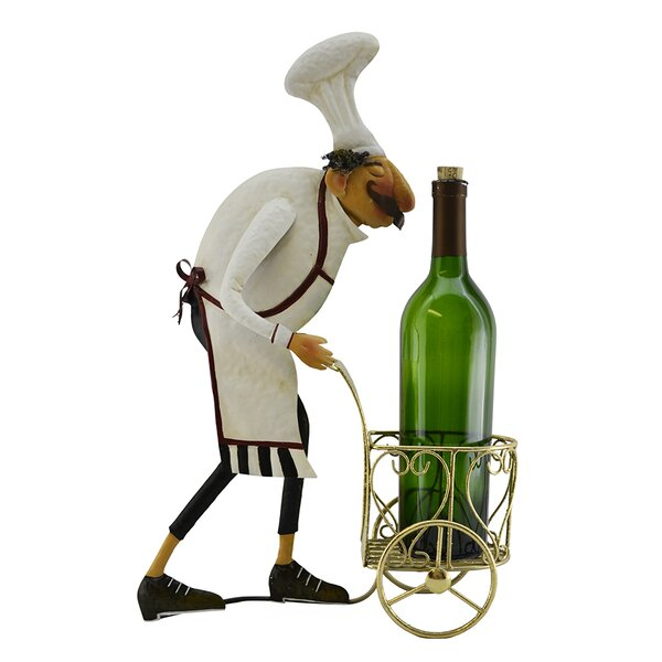 Barney Italian Chef with Serving Cart 1 Bottle Tabletop Wine Holder by Fleur De Lis Living