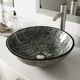 Best Price Titanium Glass Circular Vessel Bathroom Sink with Faucet By VIGO