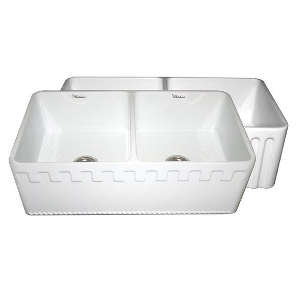 Reversible 33 L x 18 W Double Bowl Fireclay Kitchen Sink by Whitehaus Collection