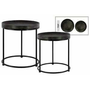 Dingyue Round Wood 2 Pieces Nesting Tables with 3 Metal Legs by 17 Stories