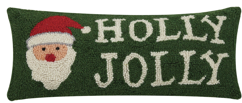 The Holiday Aisle Refugio Holly Jolly Santa Hook Wool Lumbar Pillow Wayfair