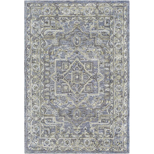 Jambi Traditional Hand-Tufted Wool Light Green/Purple Area Rug by Ophelia & Co.