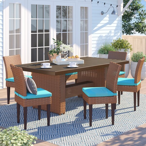 Waterbury 7 Piece Outdoor Patio Dining Set with Cushions by Sol 72 Outdoor Sol 72 Outdoor