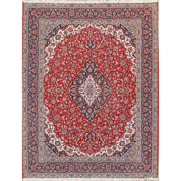Medallion Soft Plush Kashan Persian Red/Blue Area Rug by Isabelline