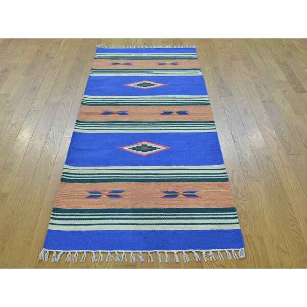 One-of-a-Kind Bonnie Design Striped Handmade Kilim Blue Wool Area Rug by Isabelline