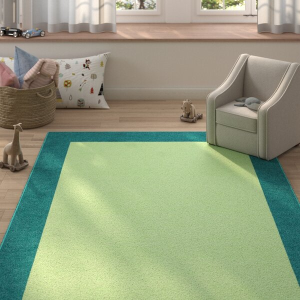 Godsey Hand-Tufted Wool Light Green Area Rug by Zoomie Kids