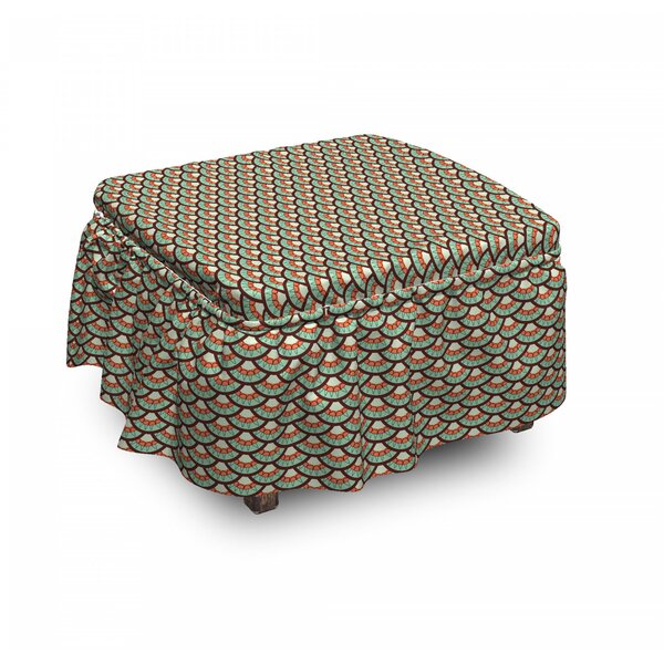 Best Price Abstract Scales Retro Tile 2 Piece Box Cushion Ottoman Slipcover Set
