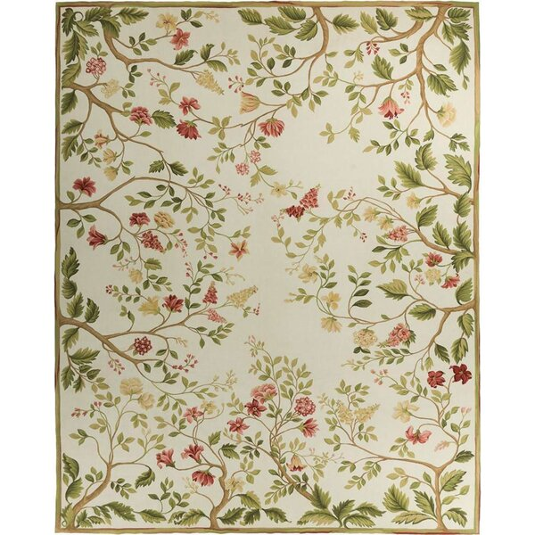Hand Knotted Wool Ivory/Green/Red Rug