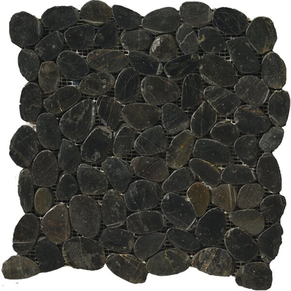 Flat Rivera Pebbles 12 x 12 Mosaic in Black by Emser Tile
