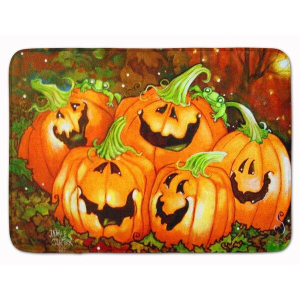 A Glowing Personality Pumpkin Halloween Memory Foam Bath Rug by The Holiday Aisle