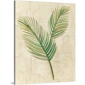 Sago Palm Leaves Neutral Crop by Albena Hristova Painting Print on Wrapped Canvas by Great Big Canvas