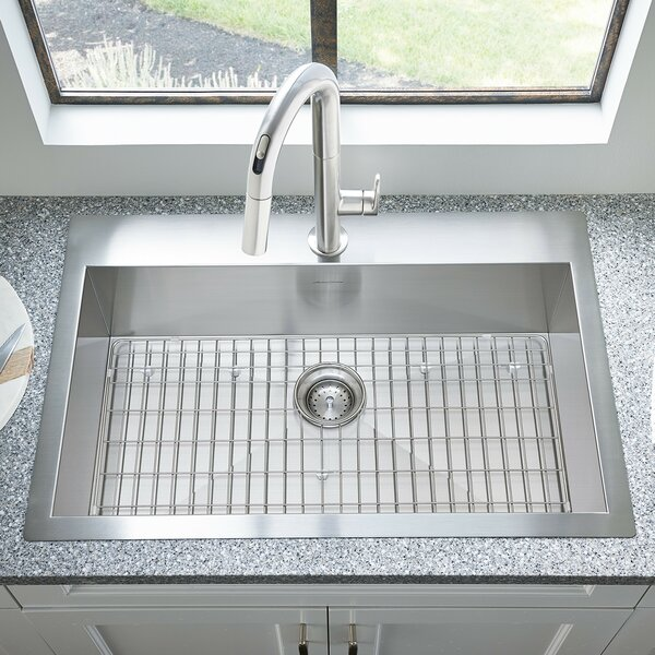 Edgewater 33 L x 22 W Dual Mount Drop-In Kitchen Sink with Grid and Drain by American Standard