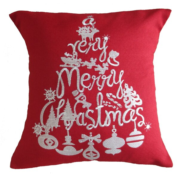Christmas Greeting Decorative Embroidered Burlap Pillow Cover by Violet Linen