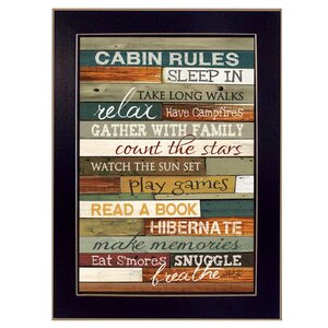 'Cabin Rules' Framed Textual Art Print by Loon Peak