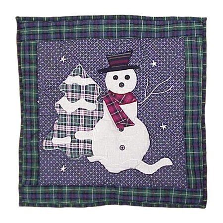 Snowman Cotton Throw Pillow by Patch Magic