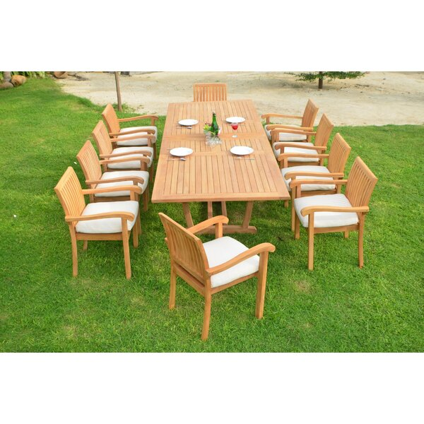 Cael Luxurious 11 Piece Teak Dining Set by Rosecliff Heights