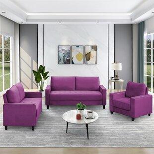 Injum 3 Piece Velvet Living Room Set by Latitude Run®