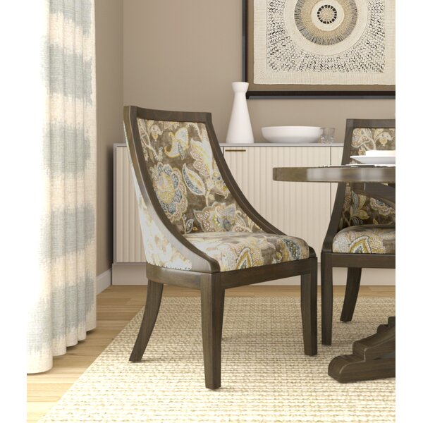 Rawley Industrial Floral Upholstered Dining Chair by August Grove