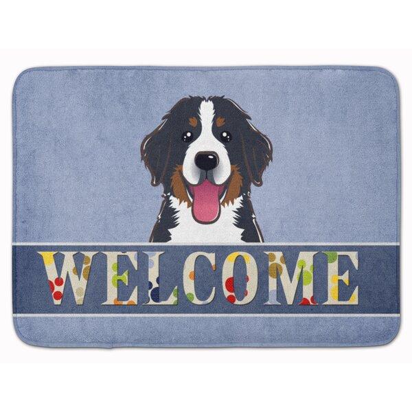 Bernese Mountain Dog Welcome Rectangle Microfiber Non-Slip Bath Rug