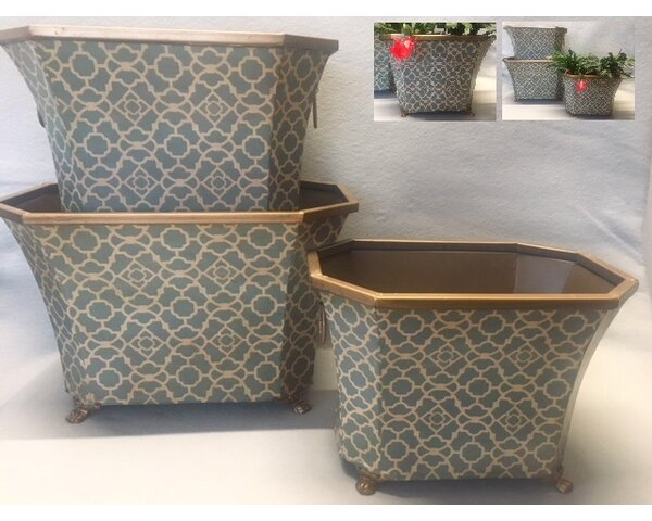 Hille 3 Piece Tin Rect Pot Planter Set by Charlton Home