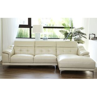 Top Reviews Doherty Leather Sectional Orren Ellis