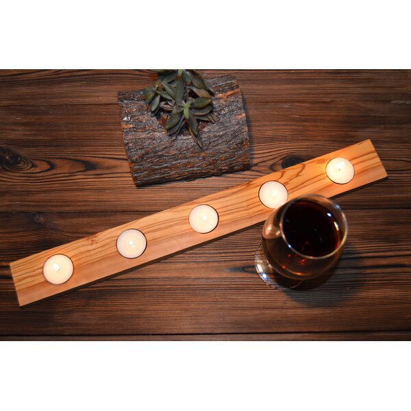 Handcrafted Olive Wood Tealight Candle Holder by Pomegranate Solutions, LLC