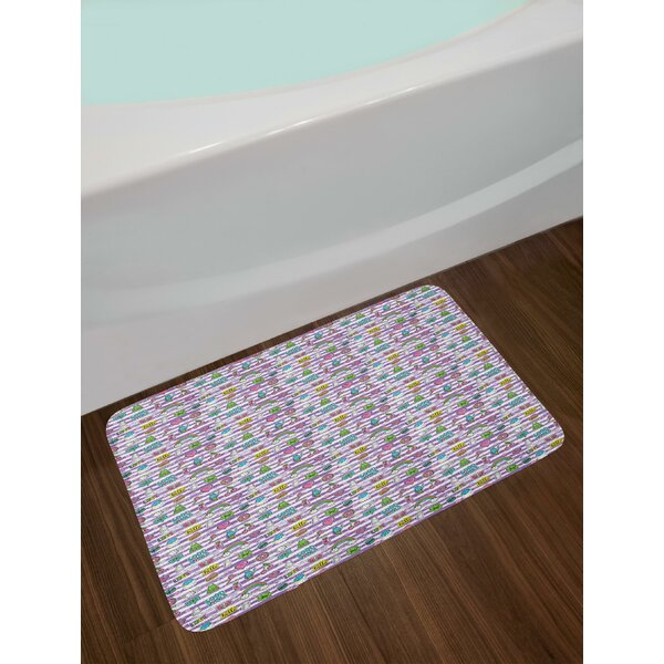 Purple Stripes with Grunge Look Cheerful Cartoon Characters 80s 90s Style Retro Bath Rug by East Urban Home
