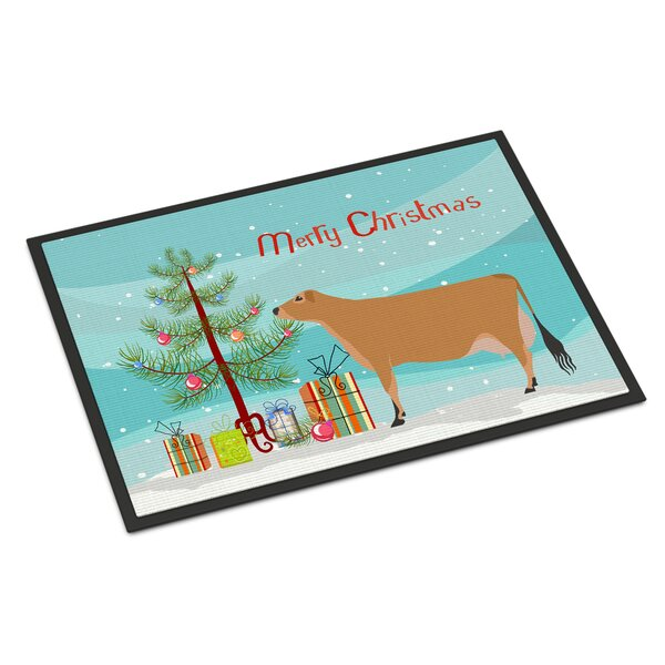 Jersey Cow Christmas Non-Slip Outdoor Door Mat