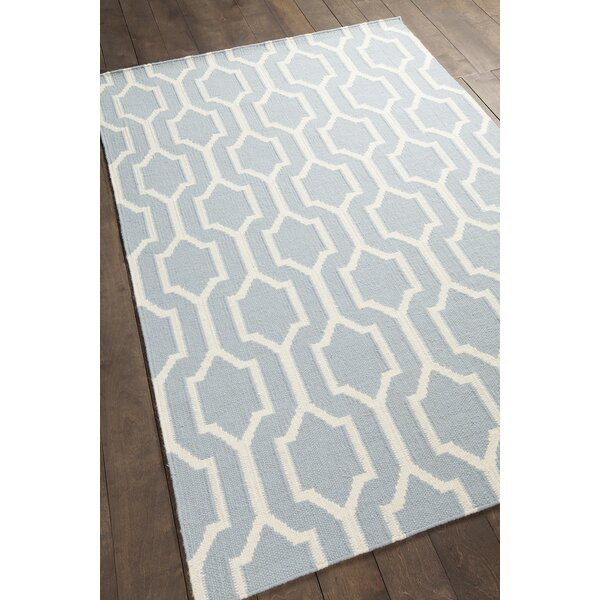 Centeno Patterned Blue/White Area Rug by Brayden Studio