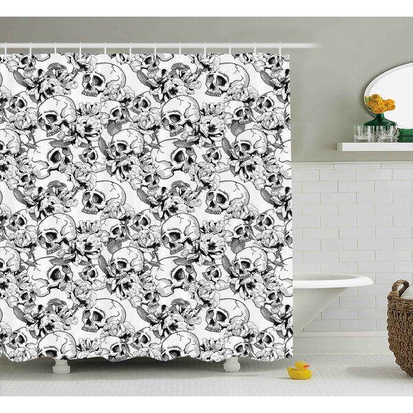 Keels Day of The Dead Festive Celebration Mexican Spanish Sketch Dead Skulls Art Print Shower Curtain by Wrought Studio