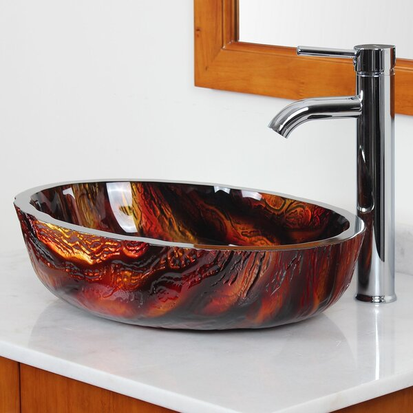 Marble Hot Melted Rock Pattern Glass Oval Vessel Bathroom Sink by Elite