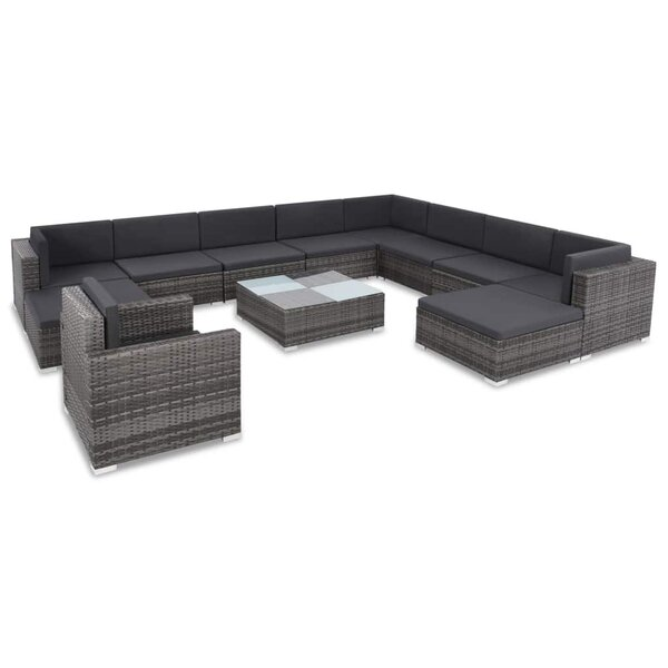 Thame Outdoor 12 Piece Sectional Seating Group with Cushions by Ivy Bronx