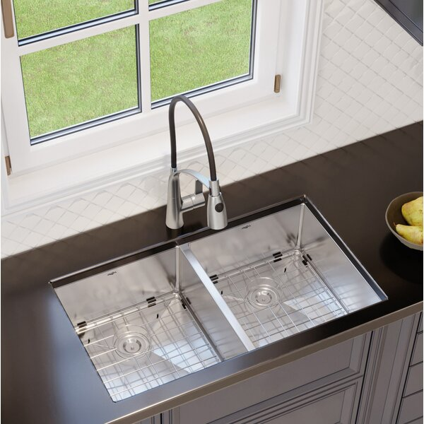 Prestige Series 32 L x 19 W Double Basin Undermount Kitchen Sink with Faucet by Ancona