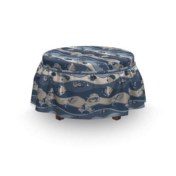 Fish Cartoon Aquarium 2 Piece Box Cushion Ottoman Slipcover Set By East Urban Home