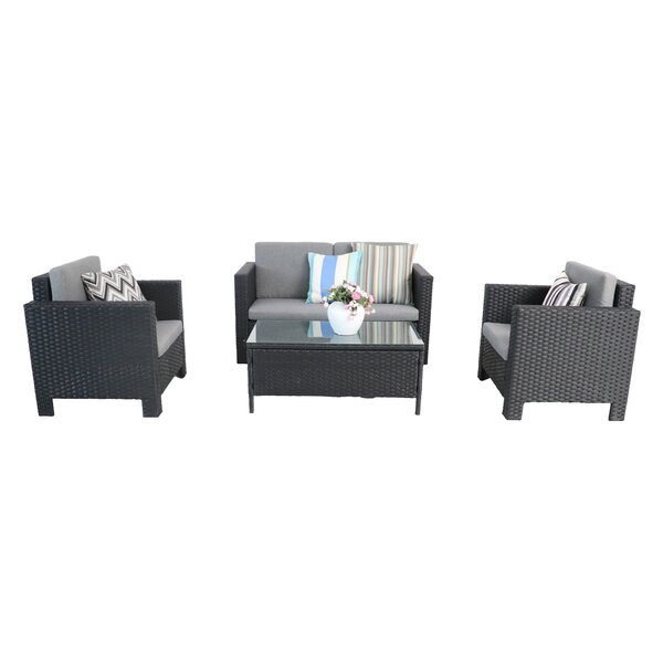 Scenery Outdoor 4 Piece Rattan Sofa Seating Group with Cushions by Ebern Designs