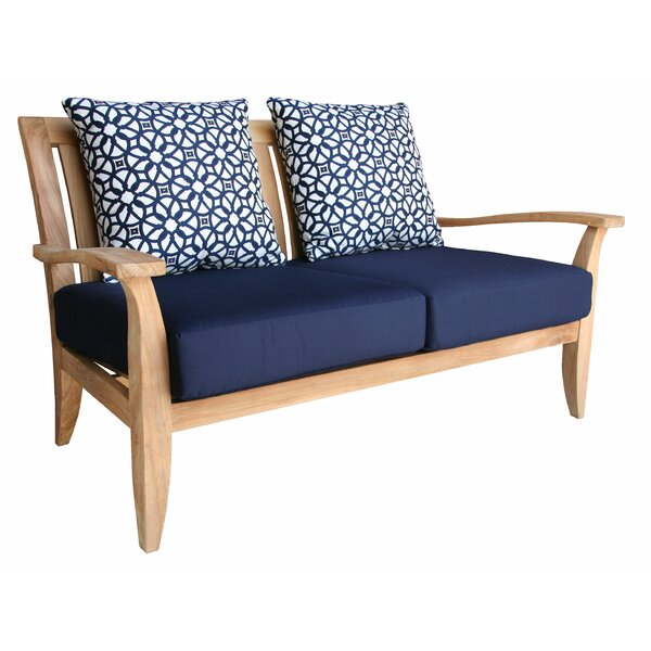 Celia Deep Seating Teak Loveseat with Sunbrella Cushions by Rosecliff Heights