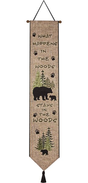 What Happens in the Woods Bell Pull Tapestry and Wall Hanging by Manual Woodworkers & Weavers