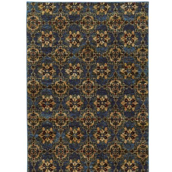 Rosalia Medallion Blue/Gold Area Rug by Bloomsbury Market