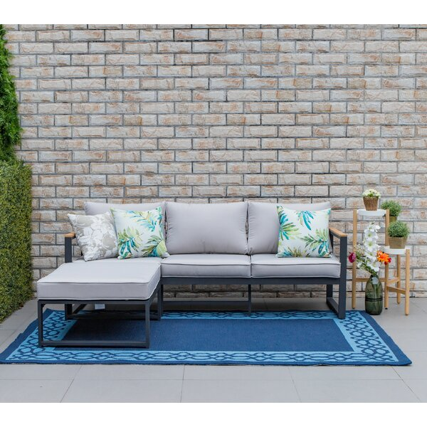 Deshawn Outdoor 2 Piece Sectional Seating Group with Cushions by Longshore Tides