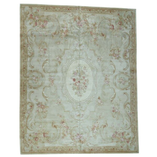 Charles and Plush Savonnerie Hand-Knotted Ivory Area Rug by Astoria Grand