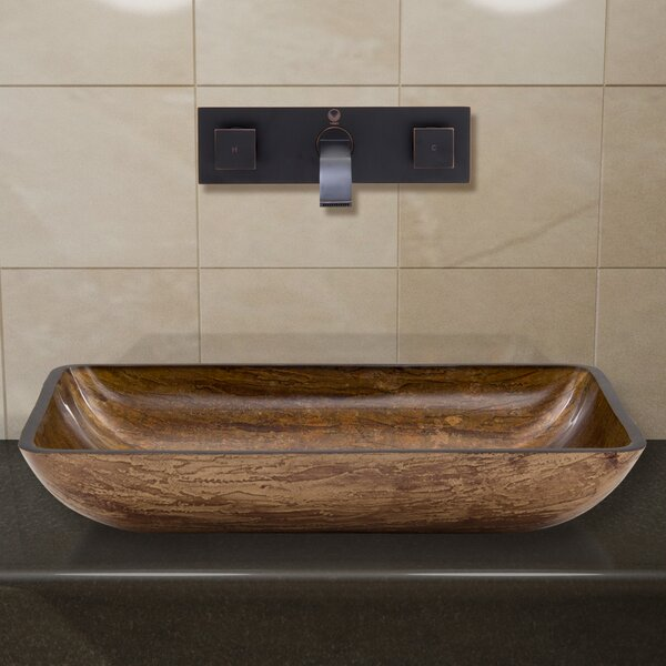 Glass Rectangular Vessel Bathroom Sink with Faucet by VIGO