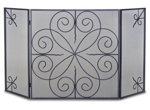 Elements 3 Panel Iron Fireplace Screen By Pilgrim Hearth