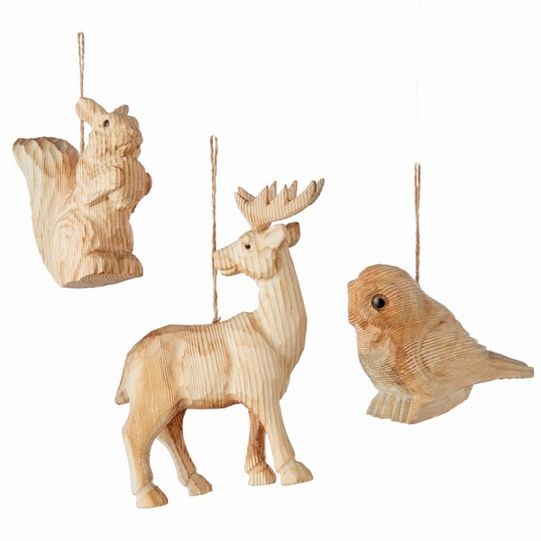 3 Piece Woodland Creature Hanging Figurine Set by