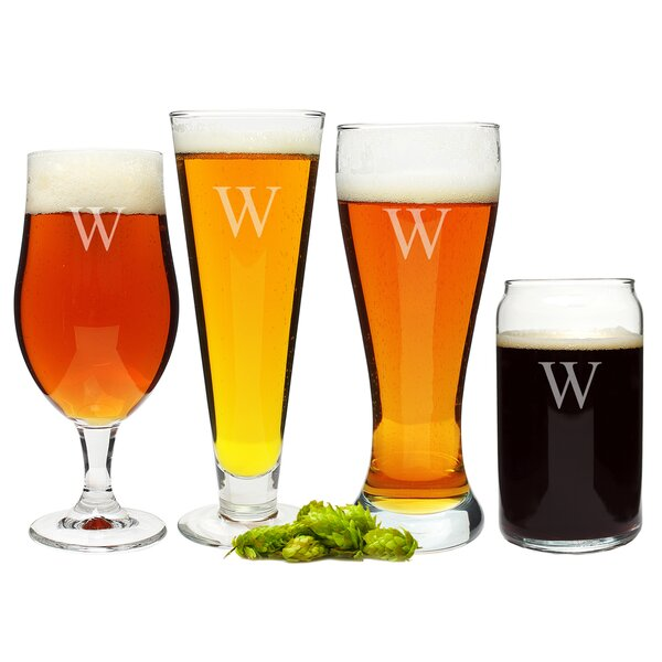 Personalized 4 Piece Specialty Beer Glass Set by Cathys Concepts