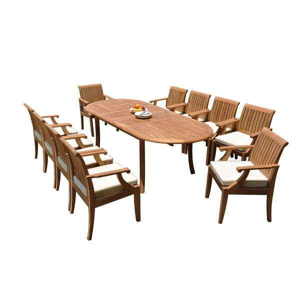 Kinzey 11 Piece Teak Dining Set by Rosecliff Heights