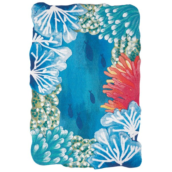 Fey Reef Border Handmade Blue Indoor/Outdoor Area Rug by Highland Dunes