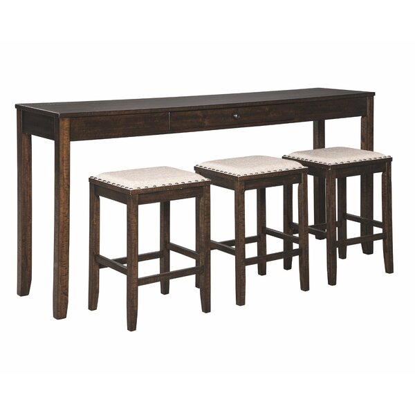 Chapdelaine 4 Piece Solid Wood Breakfast Nook Dining Set by Gracie Oaks
