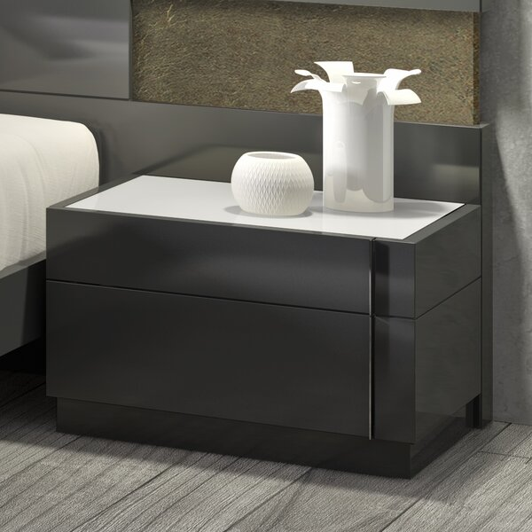 Boyertown 2 Drawer Nightstand Right Facing by Wade Logan Wade Logan